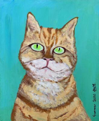Louis Wain's Happy Smiley Tabby Cat