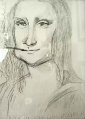 Distorted Mona Lisa Smoking a Cigar